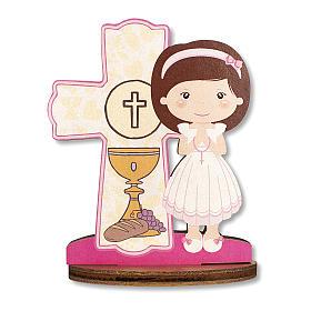 Bomboniera ricordo Comunione Croce Eucaristica con Bimba 10x7 cm s1
