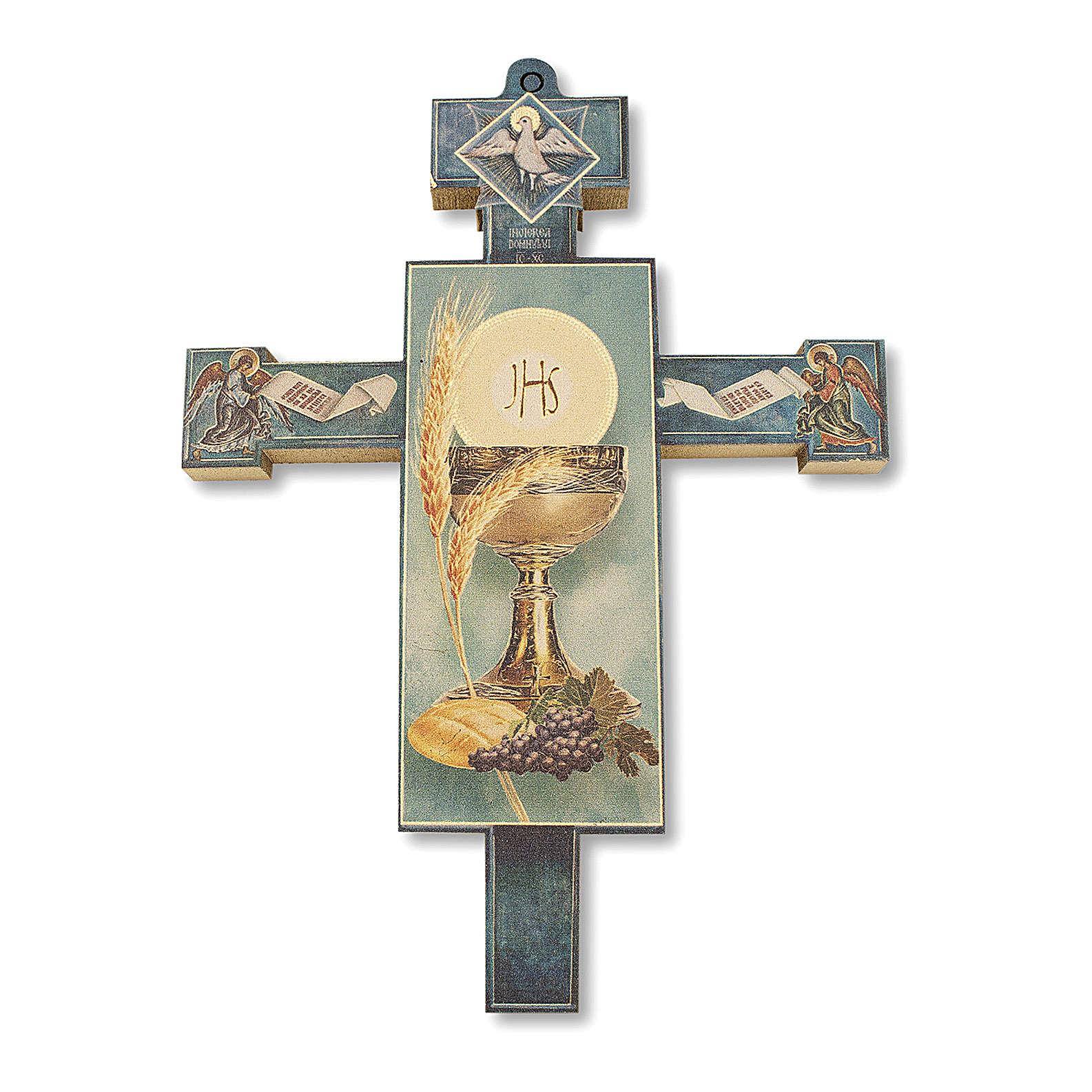 Croix souvenir Première Communion avec diplôme Symboles Eucharistiques 13,5x9,5 cm 3