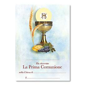 Croix souvenir Première Communion avec diplôme Symboles Eucharistiques 13,5x9,5 cm s3