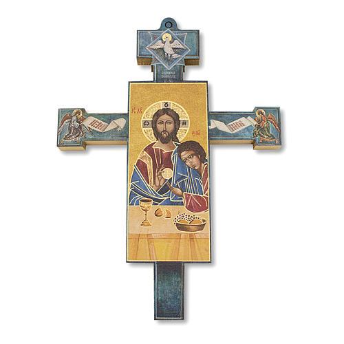 Cruz recuerdo Primera Comunión diploma Icono Jesús y San Juan 13,5x9,5 cm 2