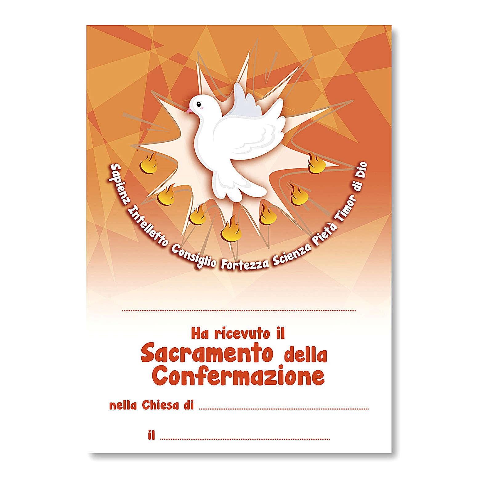 Cruz recuerdo Confirmación diploma Espíritu Santo y Símbolos Confirmación 14x9,5 cm 3
