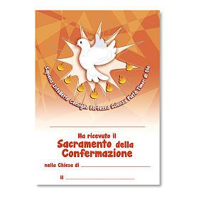 Cruz recuerdo Confirmación diploma Espíritu Santo y Símbolos Confirmación 14x9,5 cm s3