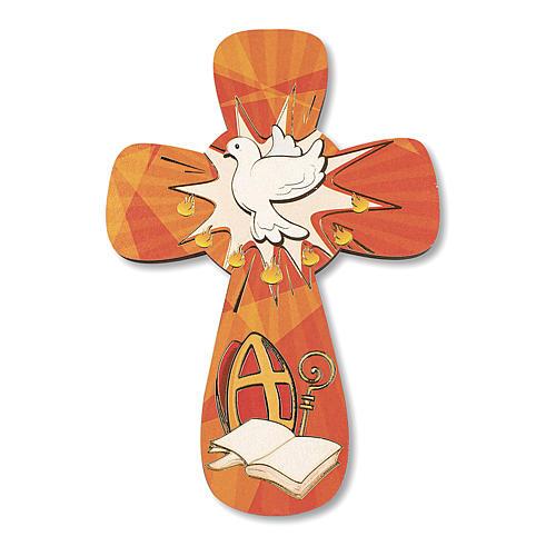 Cruz recuerdo Confirmación diploma Espíritu Santo y Símbolos Confirmación 14x9,5 cm 2