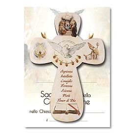 Croce ricordo Cresima diplomino Spirito Santo e Simboli Confermazione 14x9,5 cm s1