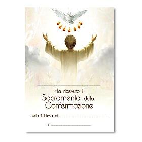 Croce ricordo Cresima diplomino Spirito Santo e Simboli Confermazione 14x9,5 cm s3
