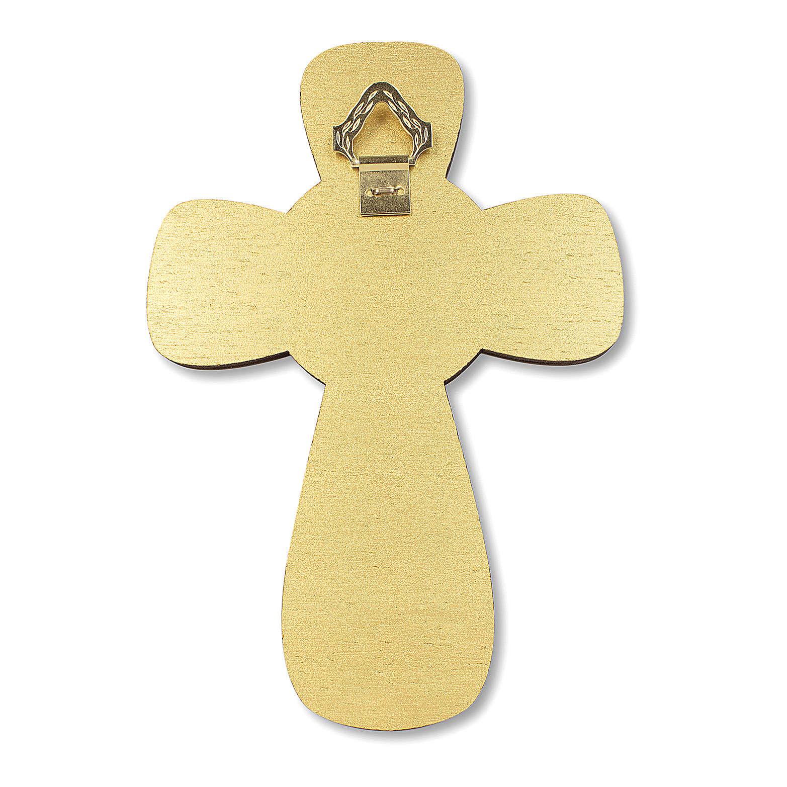 Cruz recuerdo Primera Comunión diploma Espíritu Santo y Símbolos Eucarísticos 14x9,5 cm 3