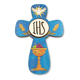 Cruz recuerdo Primera Comunión diploma Espíritu Santo y Símbolos Eucarísticos 14x9,5 cm s2