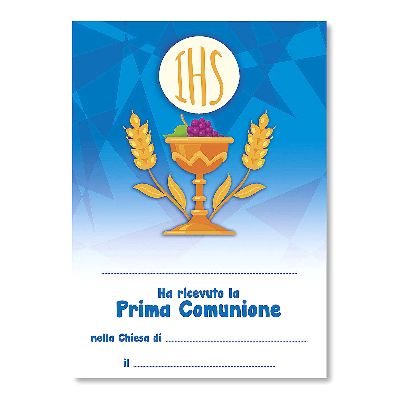 Croce ricordo Prima Comunione diplomino S. Santo e Simboli Eucaristici 14x9,5 cm 3