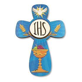 Croce ricordo Prima Comunione diplomino S. Santo e Simboli Eucaristici 14x9,5 cm s2