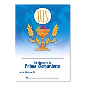 Croce ricordo Prima Comunione diplomino S. Santo e Simboli Eucaristici 14x9,5 cm s3