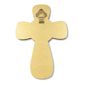 Croce ricordo Prima Comunione diplomino S. Santo e Simboli Eucaristici 14x9,5 cm s4