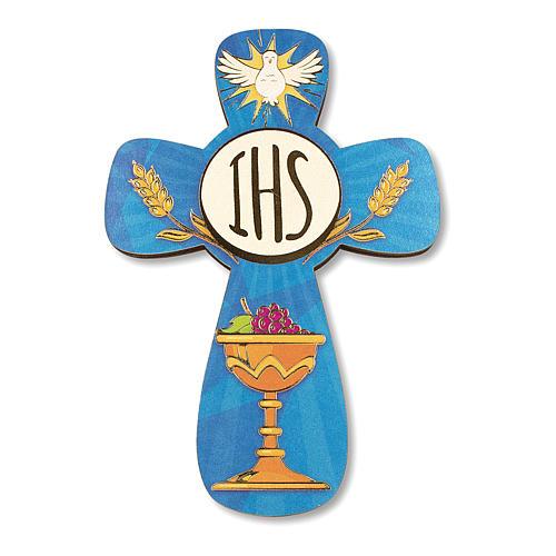 Croce ricordo Prima Comunione diplomino S. Santo e Simboli Eucaristici 14x9,5 cm 2