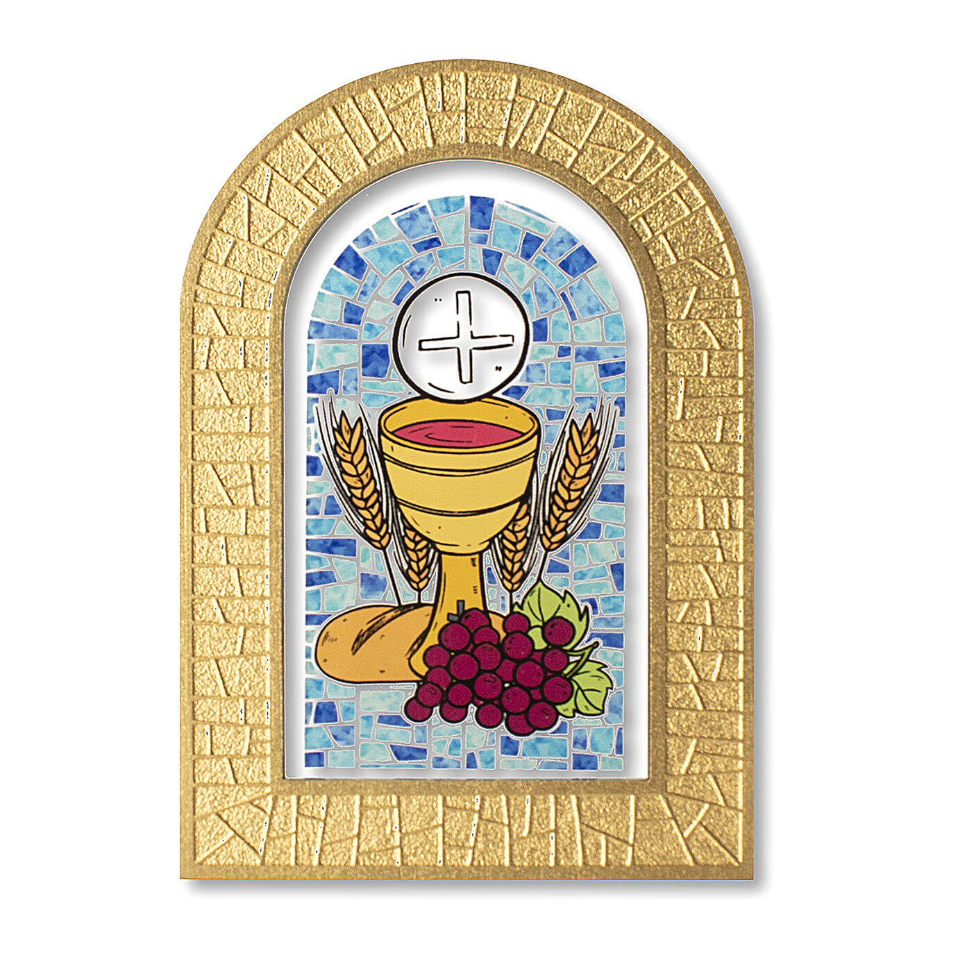 Holy Communion stained glass window Eucharist symbols 5x4 in 3