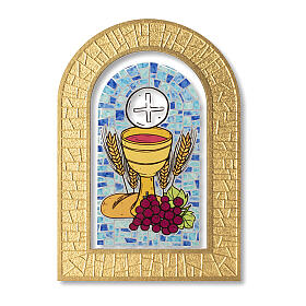 Holy Communion stained glass window Eucharist symbols 5x4 in s1