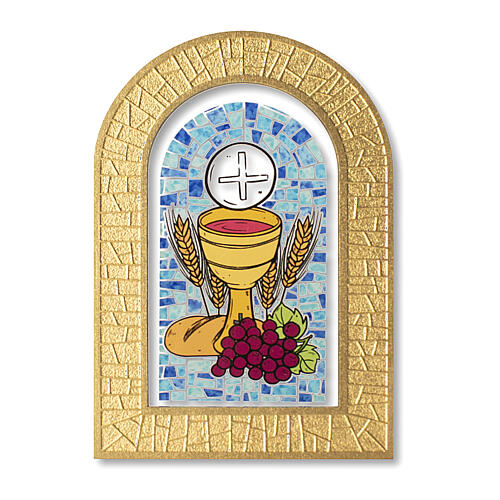 Holy Communion stained glass window Eucharist symbols 5x4 in 1