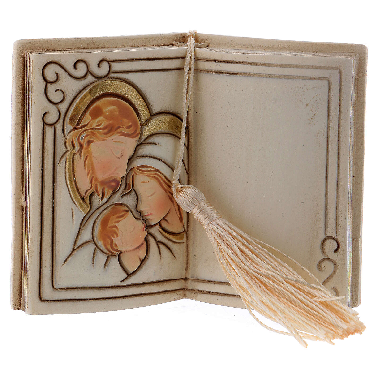 Book shaped ornament Holy Family 3 in 3
