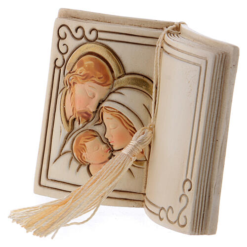 Book shaped ornament Holy Family 3 in 2