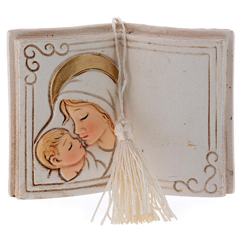 Book shaped ornament Virgin Mary with Child 3 in 1