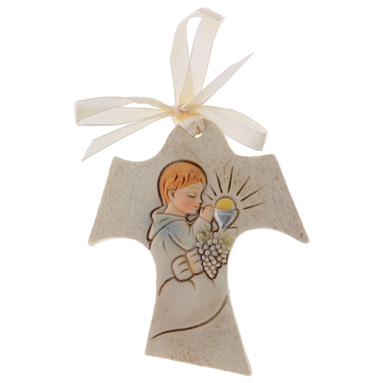 Tau shaped wall ornament boy praying 3 in resin 3
