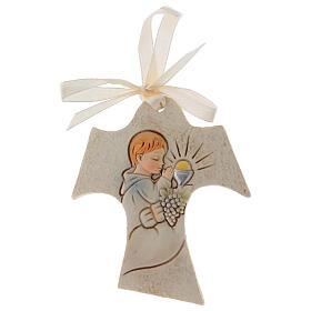 Tau shaped wall ornament boy praying 3 in resin s1