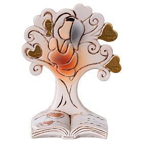 Bomboniere sacre e ricordini: Albero-libro con bimba 7 cm resina