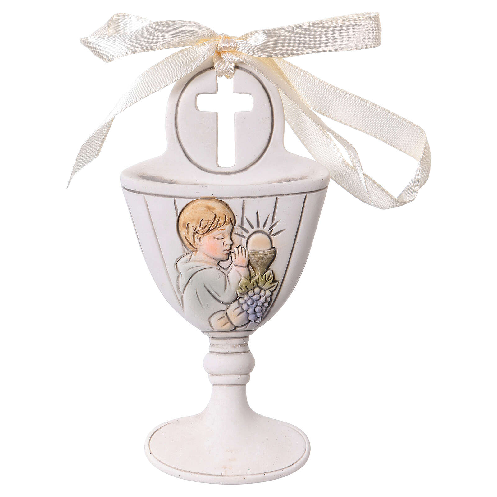 Chalice wall ornament with boy 3.5 in resin 3