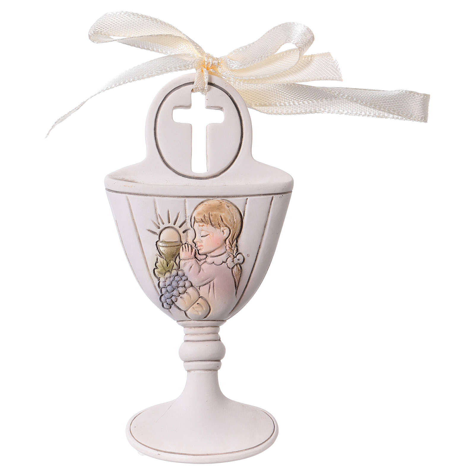 Goblet-shaped party favour with praying girl in resin 9 cm 3