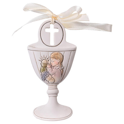 Chalice wall ornament with girl 3.5 in resin 1