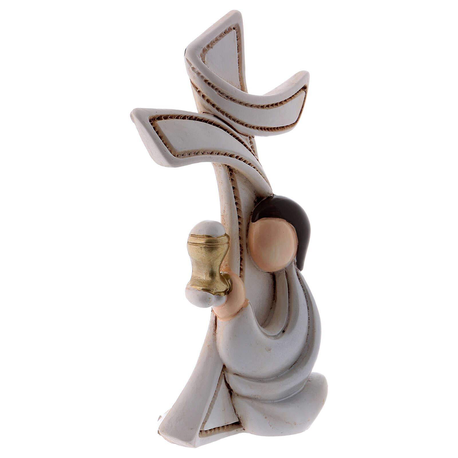 Cruz estilizada menino em oração 10 cm 4