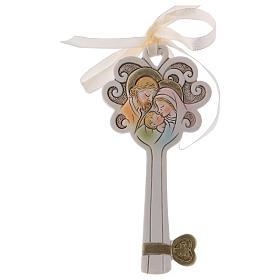 Bonbonnière clé Sainte Famille 11 cm résine s1