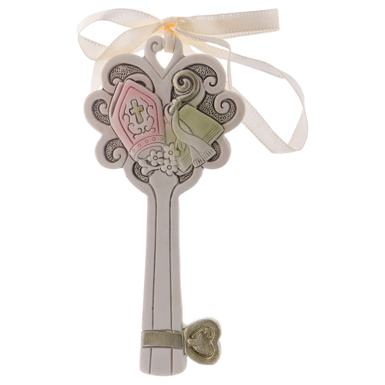 Key shaped favor mitre and crozier 4 in resin 3
