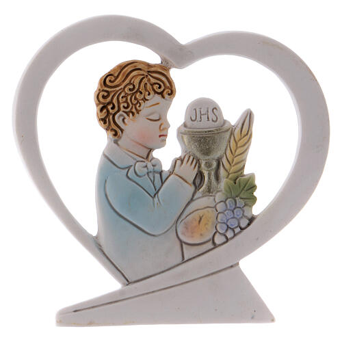 Heart shaped standing ornament boy praying resin 2.5 in 1