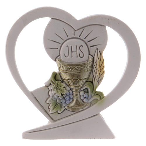 Heart shaped standing ornament chalice and host resin 2.5 in 1
