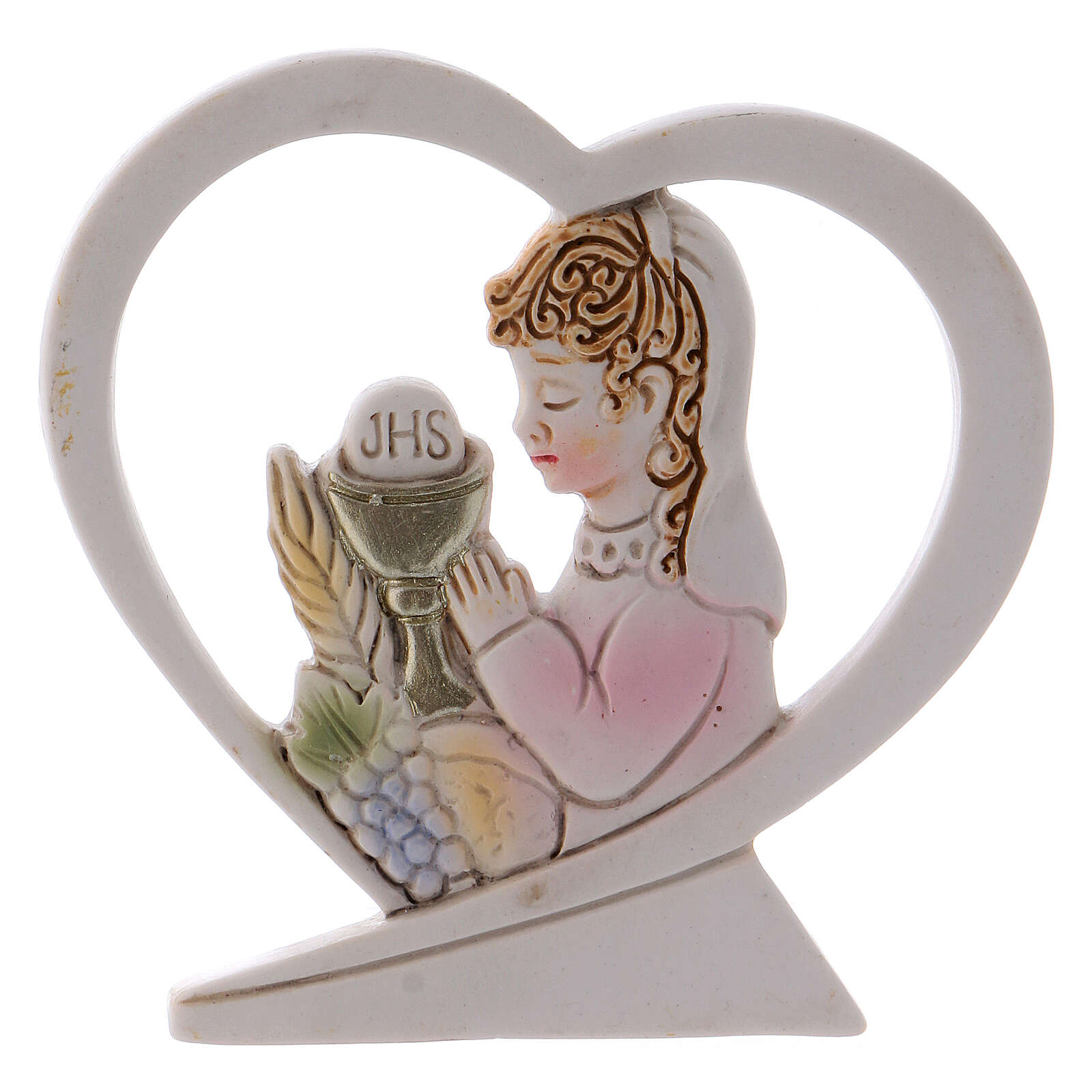 Heart shaped standing ornament girl praying resin 2.5 in 3