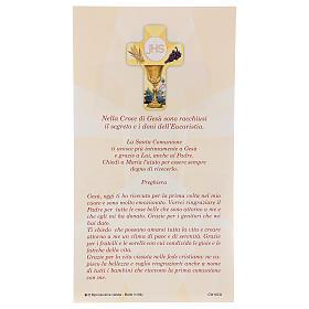Souvenir Communion garçon/fille carte ITA et croix bois s3