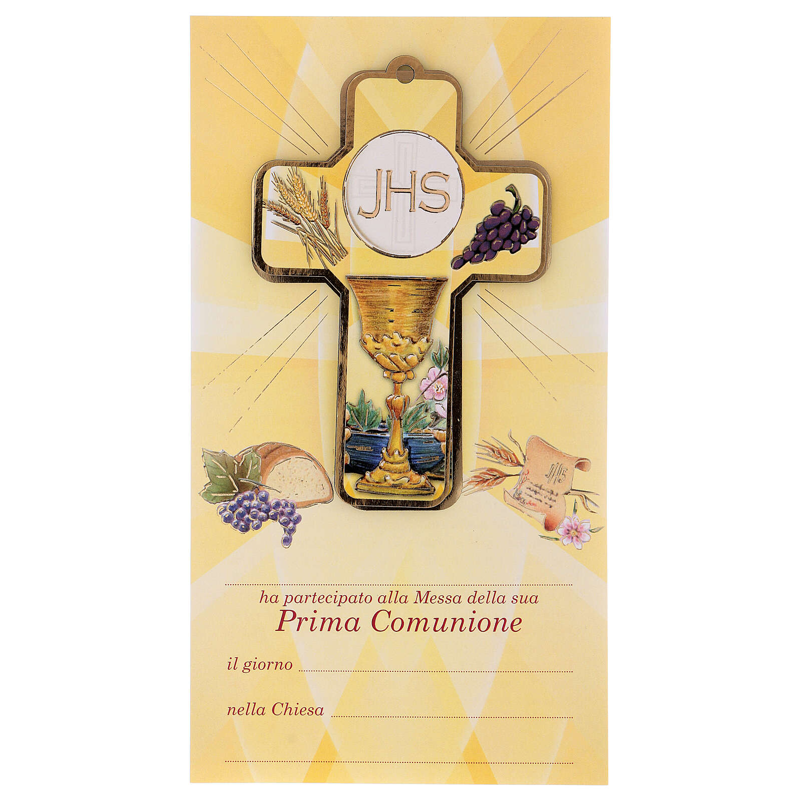 Holy Communion souvenir boy/girl card ITA and wood cross 3