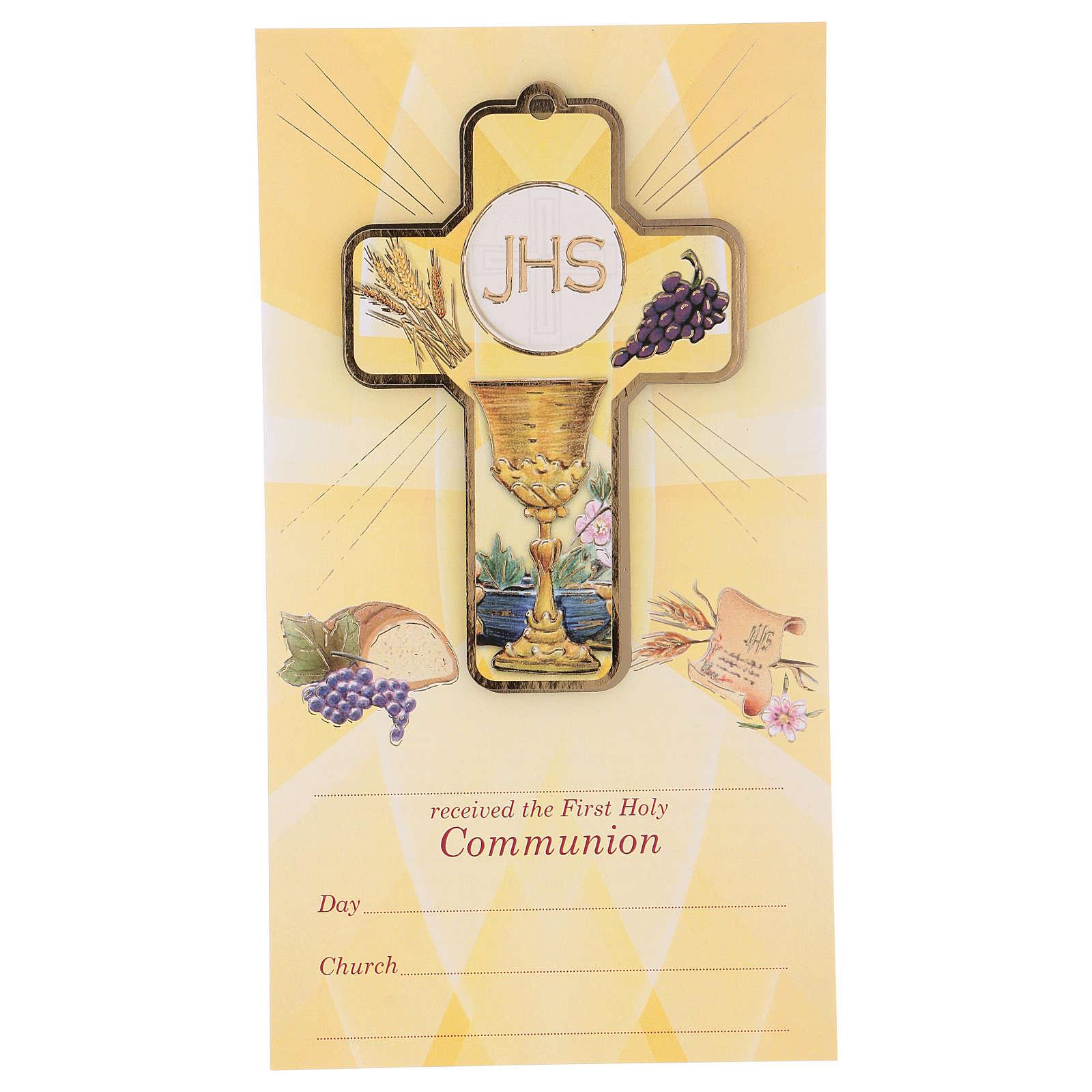 Souvenir Communion garçon/fille carte ANG et croix bois 3