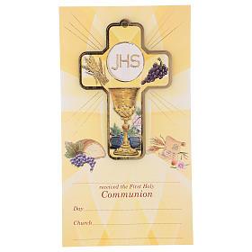 Souvenir Communion garçon/fille carte ANG et croix bois s1