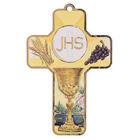 Souvenir Communion garçon/fille carte ANG et croix bois s2
