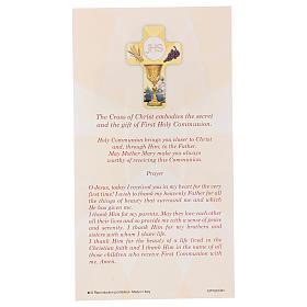 Souvenir Communion garçon/fille carte ANG et croix bois s3
