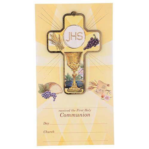 Souvenir Communion garçon/fille carte ANG et croix bois 1
