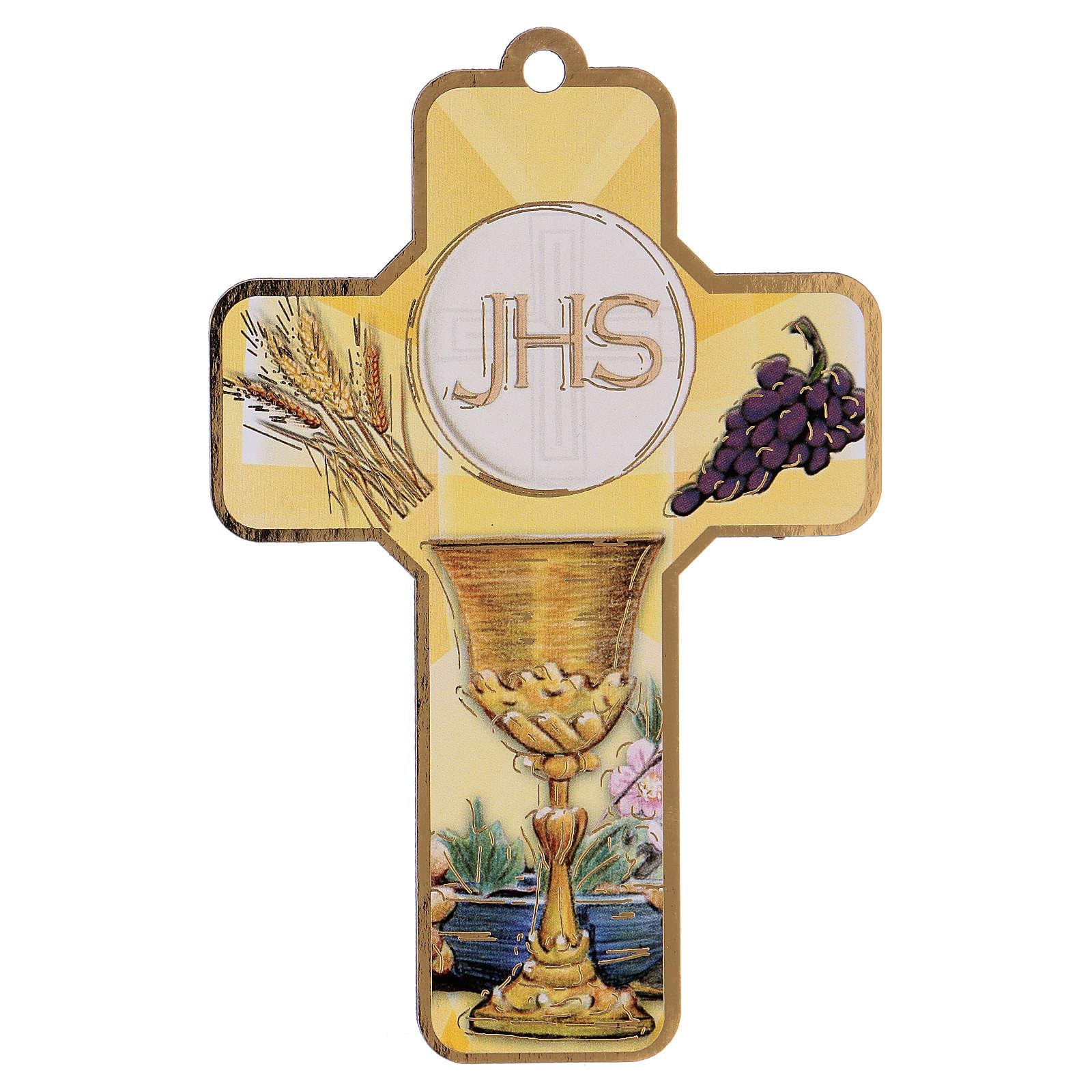 Recuerdo comunión niño/niña cartulina ESP y cruz madera 3