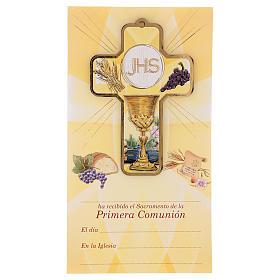 Recuerdo comunión niño/niña cartulina ESP y cruz madera s1