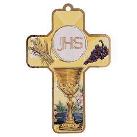 Recuerdo comunión niño/niña cartulina ESP y cruz madera s2