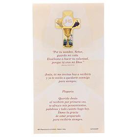 Recuerdo comunión niño/niña cartulina ESP y cruz madera s3