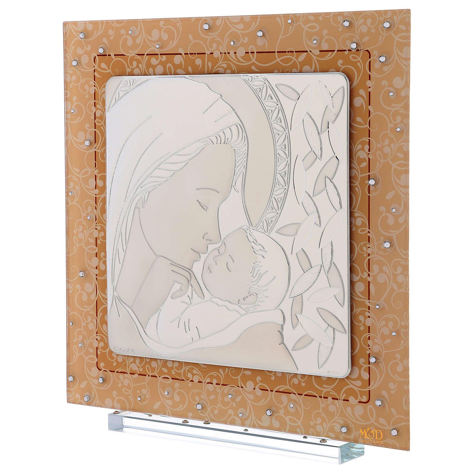 Cuadrito Maternidad de lámina plata y piedras 30x30 cm 3