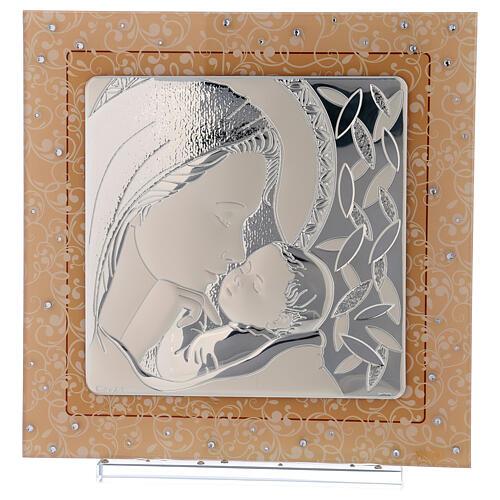Cuadrito Maternidad de lámina plata y piedras 30x30 cm 1