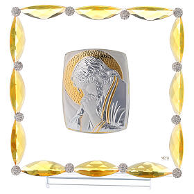 Cuadrito con cristales ámbar y lámina plata Cristo 20x15 s1
