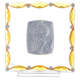Cuadrito con cristales ámbar y lámina plata Cristo 20x15 s3
