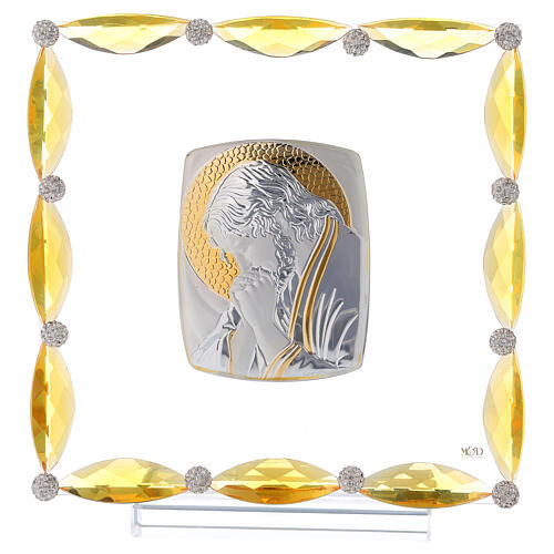 Cuadrito con cristales ámbar y lámina plata Cristo 20x15 1